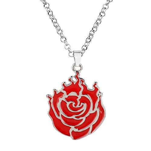 KONZFW collarAnime Colgante Collar Props Yang xiao Largo periférico Collar Rosa Negro belladona Forma Hall Collar