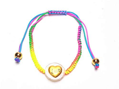 yigedan 999 - Pulsera de Oro Amarillo con Cuerda de arcoíris Hecha a Mano