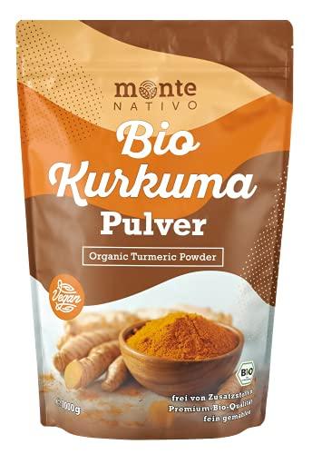Bio Kurkuma Pulver von MonteNativo – 1000 g/1Kg gemahlen | Premium Kurkumapulver | 3% Curcumingehalt | Bio Curcuma aus Indien - geprüfte Qualität, abgefüllt in Deutschland | BIO Curcuma pulver