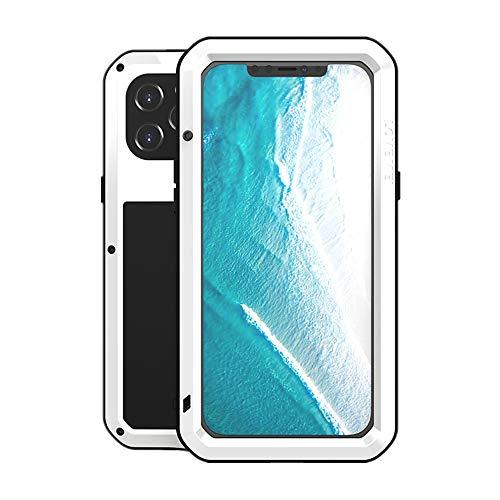 LOVE MEI Funda para iPhone 12 Pro MAX, Heavy Duty al Aire Libre de Armadura Metal Estuche Protectora Carcasa Antigolpes Impermeable a Prueba de Polvo Cubierta con Vidrio Templado (Blanco)