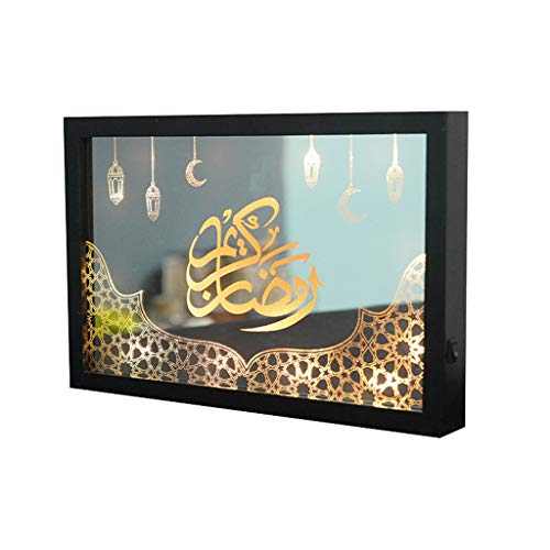 ZIRAN Creative Eid Mubarak Led Night Light Ramadan Mesa Lámpara de Escritorio Decoración de Fiesta Musulmana Mural Night Light