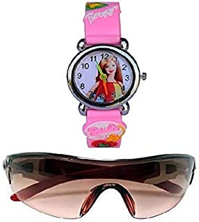 pass pass Sunglasses Analogue Girl's Watch for Baby Kids Combo 3 to 8 yrs (Pack-2, Pink)