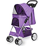 Paws & Pals Pet Stroller Cat/Dog Easy to Walk Folding Travel Carrier...