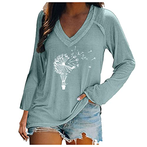 ZYAPCNGN Women's Autumn Beach Tops Solid Color Pullover Printed Long Sleeve T-Shirt V-Neck Long Sleeve Casual Top Mint Green