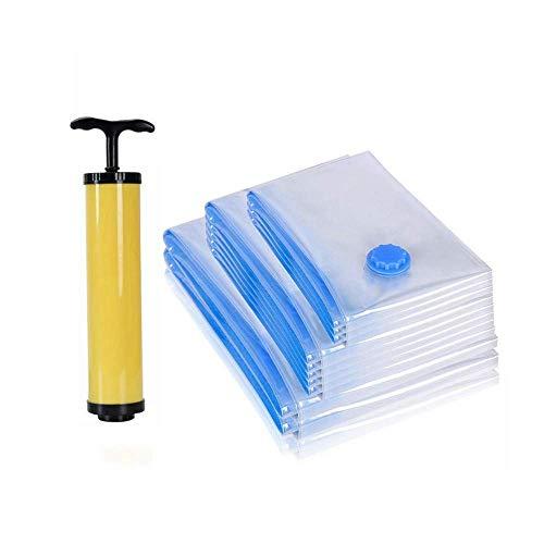Praktisch Vakuum-Aufbewahrungsbeutel, 6er-Pack, Wiederverwendbare Aufbewahrungsbeutel, mit Handpumpe, für Kleidung, Matratze, Decken, Bettdecken (3 Verschiedene Größen)