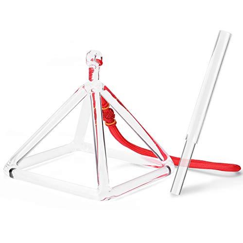 Queenser Material de Cristal Pirâmide Cantante Instrumentos de Percussão Ioga Meditação Ferramenta de Relaxamento