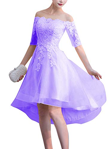Scarisee Women's Off-Shoulder High Low Prom Dresses Lace Appliques Short Sleeves Homecoming Cocktail Party Gowns Lavender-A Style 02