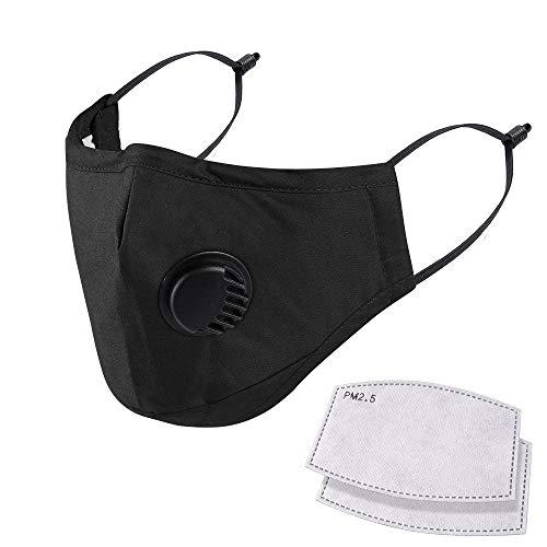 NUÜR 100% cotone traspirante maschera viso con valvola dell'aria e passanti regolabili e clip per naso, riutilizzabile, morbida, lavabile per uso pubblico, 2 filtri gratuiti in 5 strati, nero