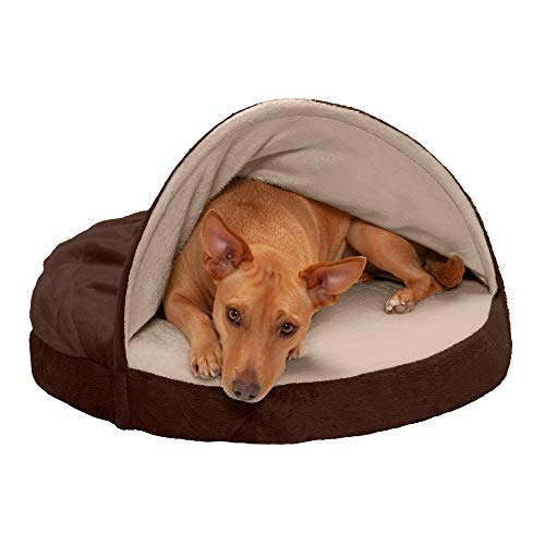 Furhaven Pet Dog Bed - Memory Foam Round Cuddle Nest Micro Velvet Snuggery Blanket Burrow Pet Bed with Removable Cover for Dogs and Cats, Espresso, 26-Inch