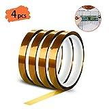 YIXISI 4 pezzi Polyimide Tape Nastro, Nastro Adesivo Resistente al Calore con Adesivo in S...