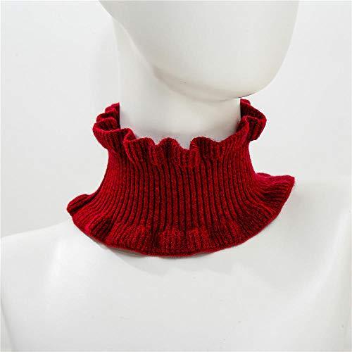 GUANGYING Mujeres Invierno Rojo Negro Grueso Anillo Bufanda Tubo Cuello Calentadores Mujeres elástico Diadema Bufandas para Damas Fular-1