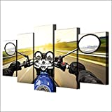 5 Panel/Set Lienzos Handart Cuadro En Lienzo Cinco Partes HD Clásico Óleo Impresiones Decorativas Cartel Arte Pared Pinturas Hogar Lienzo Conducción De Motocicletas