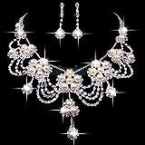 Moda Plateado Plateado Rhinestone Crystal Faux Pearl Collar + Pendiente Joyería Conjunto para Novia Boda Nupcial