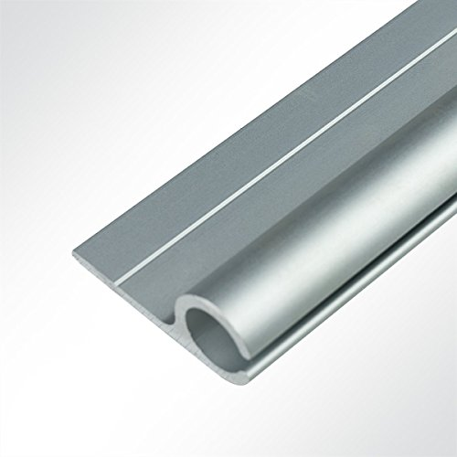 LYSEL® Kederschiene 21x50mm eloxiert 3m 90° Grau Ø15mm für Keder 6-14mm