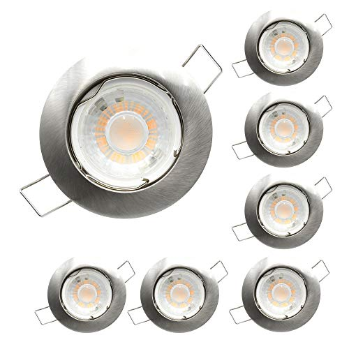 Foco empotrable para techo de aluminio circular níquel sátin, incluye bombilla LED GU10 7W 520 lumens, Luz cálida 3000k, orificio de montaje ø62mm, Pack 6 unidades