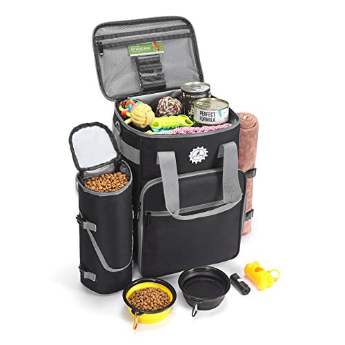 Ruff Dog Gear Dog Travel Bag All Accessories You Need For Travel | Incl 1x Pet Travel Bag, 2x Collapsible Dog Bowls 1x Food Container 5x Rolls Of Travel Poop Bags | Weekend Tote Organizer Bag for Dog