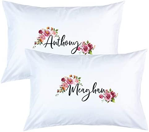 Personalized Couple Matching Floral Name Bed Pillow Case Anniversary Engagement Honeymoon Cover product image