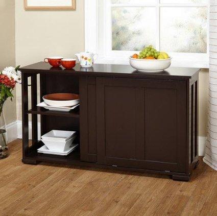 Simple Living Sliding Door Stackable Espresso Cabinet Kitchen