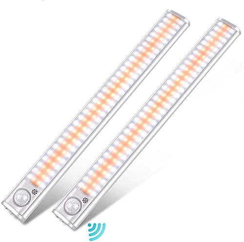 Luces LED de armario, iluminación de 120 LED bajo el armario, sensor de movimiento, luz interior con 3 colores, luz nocturna adhesiva para armario, escaleras, cocina, pasillo (3 modos)