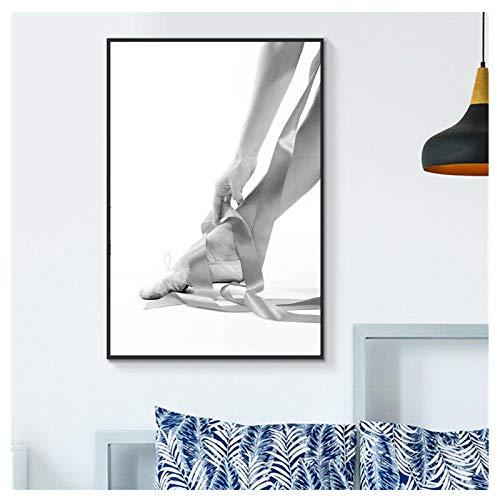 Wxswz Pintura En Lienzo Blanco Y Negro Ballet Dance Poster Impresiones Foto Estilo Nórdico Chica Arte De La Pared Imágenes Decoración Moderna para El Hogar 50X75 Cm Sin Marco A