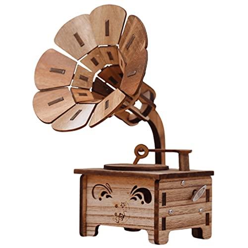 QHLOM Carillon Music Box Retro fonografo Forma Musicale Box Artigianato Regalo Decorazione Domestica o Regalo for Amici Bambini in Vacanza Speciale Regalo (Color : Natural)