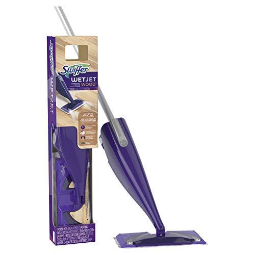 Swiffer Wetjet Wood Floor Spray Mop Starter Kit, 1 Power Mop, 5 Mopping Pads, 1 Floor Cleaner Liquid Solution, 1Count