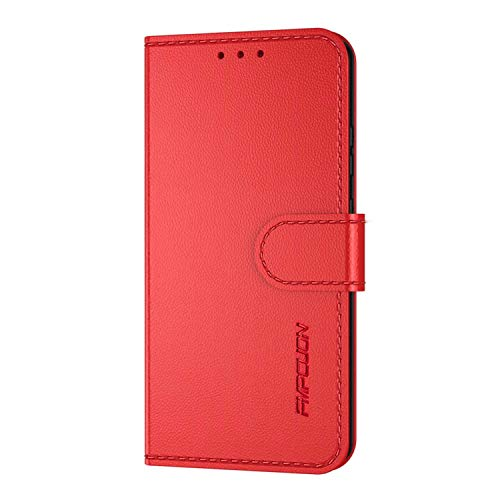 xinyunew Hülle für Xiaomi Black Shark 3,Klappbare Handyhülle,RFID Schutzhülle [Schützt vor Stößen][Magnetverschluss][Kartenfach][Verdicktes TPU][Premium Leder] Lederhülle Hülle Cover Rot