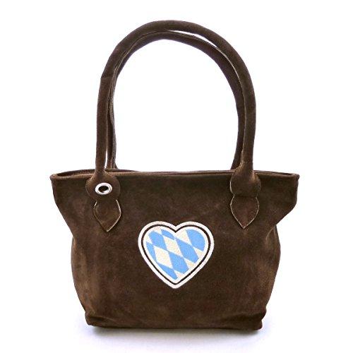 Trachten-Handtasche Dirndltasche echt Leder Dunkelbraun mit Stickerei Herz Weiss-blau