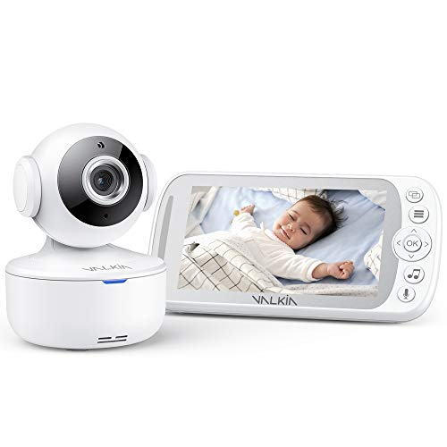 """Baby Monitor VALKIA 720P 5"""" HD Display Video Baby Monitor with Camera & Audio, Night Vision, 2-Way Talk, Remote Pan-Tilt, Temp Monitor, 980ft Range, Home Wireless Security Camera for Babies"""