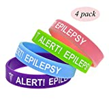 Lyndong 4 Pack Epilepsy Alert Bracelet Silicone Medical ID Wristbands for Kids 7in (Epilepsy)