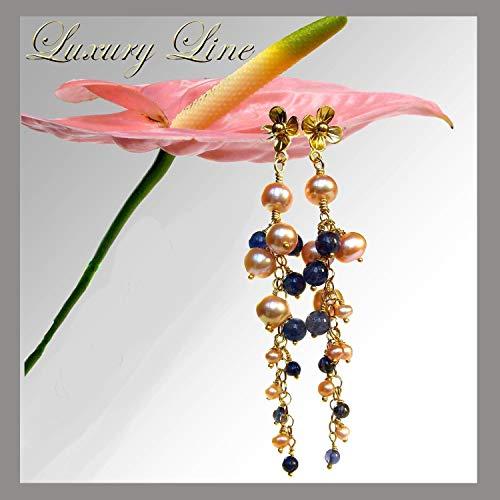 Perlen Ohrhänger Süßwasserperlen 925 Silber vergoldet Perlenohrringe lang saphir -blau Iolith Perlenohrstecker
