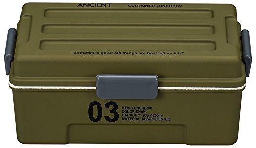 正和 お弁当箱 ANCIENT 03 コンテナランチ カーキ サイズ:約W12.1 D20 H8.3cmの写真