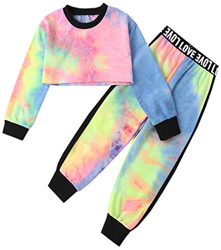 Girls Cropped Sweatsuit Pants Outfit Set, Tie-Dye Pullover Crop Sweatshirt + Sweat Jogging Pants 2 Pieces Clothes Set, Multicolored, 11-12 Years = Tag 160