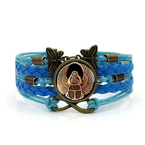 YUANOMSL Pulsera Tejida,Escarabajo Egipcio Azul Animal,Brazalete De Piedras Preciosas De Tiempo De Múltiples Capas De Combinación De Vidrio Tejido A Mano Joyería De Moda De Señoras Joyería De Estilo