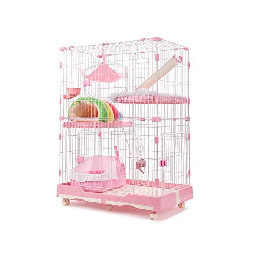 [Amazonブランド] Umi(ウミ) - 猫 ケージ ペットゲージ キャットケージ チンチラ スチール製 扉付き 2段 3段 広々 多頭飼い 組立 引き出しトレー付き 室内飼い おしゃれ - M ピンク