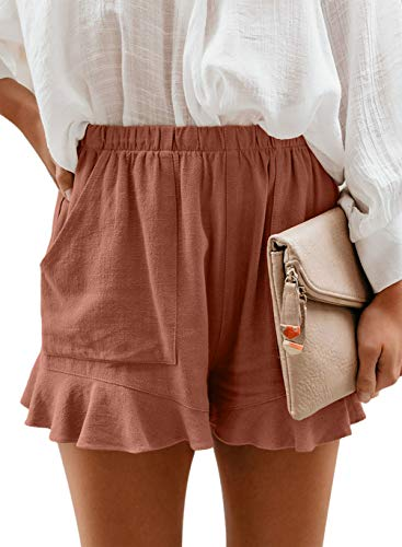 HUUSA Womens Summer Casual Cute Beach Shorts Drawstrings Elastic Solid Fashion Women Short Ruffle with Pockets Red XL