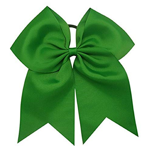 Kenz Laurenz Cheer Bows Green - Cheerleading Softball Gifts for Girls and Women Team Bow with Ponytail Holder Complete your Cheerleader Outfit Uniform Strong Hair Ties Bands Elastics (3)