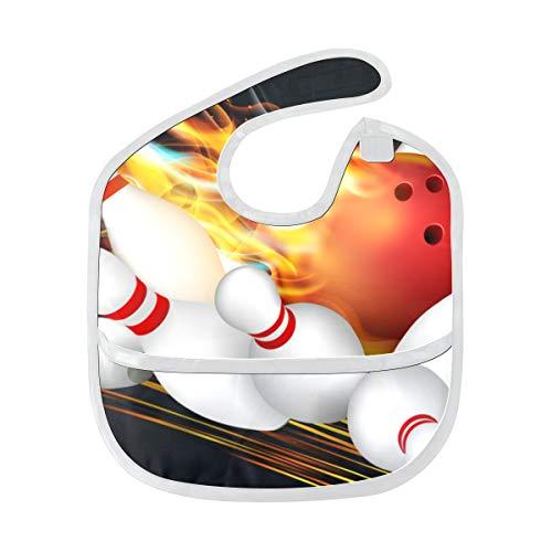 Lätzchen Mädchen Wasserdichte Rote Bowlingkugel Mit Flamme Benutzerdefinierte Weichen Fleck Baby Fütterung Dribbeln Sabbern Lätzchen Rülpsen Für Kleinkinder 6-24 Monate Rote Bowlingkugel Mit Flamme