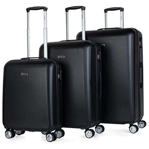ITACA - T58000 Juego Set 3 Maletas Trolley 50/60 / 70 cm ABS. Rígidas, Resistentes y Ligeras. Mango telescópico, 2 Asas, 4 Ruedas Dobles. Pequeña Low Cost, Color Negro