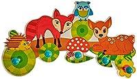 Liebevoll gestaltete Wandgarderobe mit 5 Kleiderhaken, im kindgerechten Design mit einem farbenfrohen Tiermotiven aus dem heimischen Wald, Größe ca. 37 x 22 x 6,5 cm Die stabilen Haken haben die Form von großen blauen Kugeln, so dass Jacken, Schals, ...
