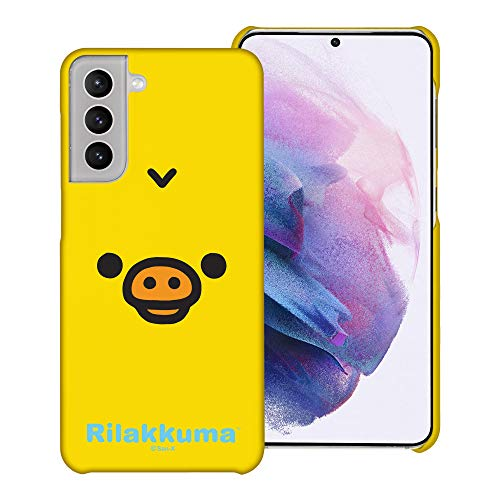 Compatible with Galaxy S21 Case (6.2inch) [Slim Fit] Rilakkuma Thin Hard Matte Surface Excellent Grip Cover - Face Kiiroitori