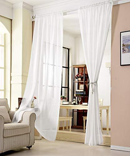 WOLTU® VH6065ws, Gardinen transparent mit Kräuselband Leinen Optik, Vorhang Stores Voile Fensterschal Dekoschal für Wohnzimmer Kinderzimmer Schlafzimmer, 140x145 cm, Weiss, (1 Stück)