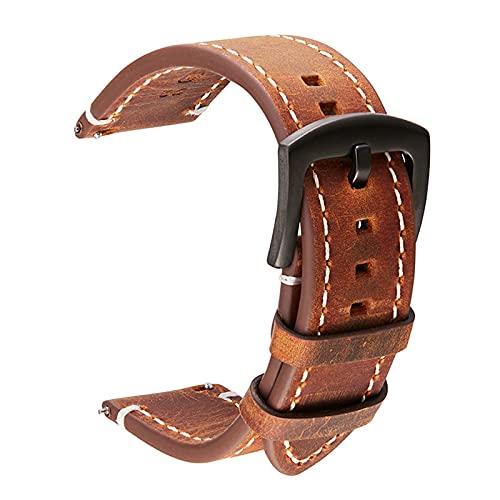 Vaca Cuero Correa de 18mm 20mm 22mm 24mm Cuero auténtico Reloj de Pulsera de la Vendimia de la Banda Correa del cinturón, Marron Oscuro, 24mm