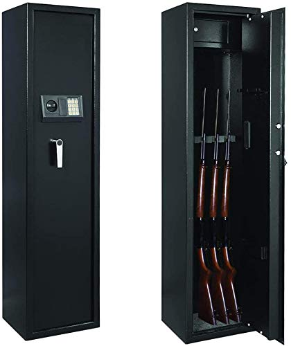 Large Electronic Gun Safe 57'' for 5-Rifle/Shotgun, Solid Steel Gun Security Cabinet with Lock Box, Home Defense