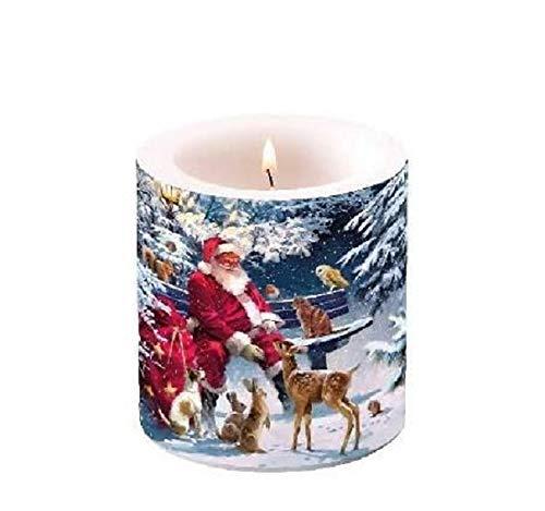 Unbekannt Kerze Weihnachtsmann mit Tieren