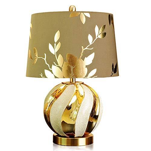 CHENJIA Lámpara de mesa de cerámica Todo de cobre Lámpara de mesa de cerámica Lámpara de cabecera Lámpara de estudio europeo Dormitorio cálido Sala de estar Decorativo de cerámica chino