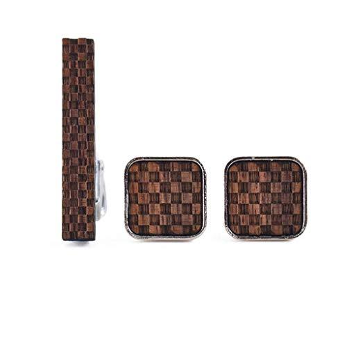 SCDZS Gemelos de Madera + Clips de Corbata para Camisas para Hombre Regalo de Gemelos Cuadrados