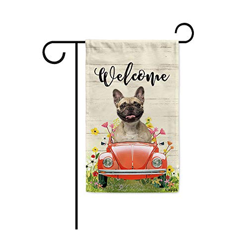 BAGEYOU Welcome Spring Dog Garden Flag Lovely French Bulldog Driving a Vintage Car Summer Flowers and Lawn Decor Home Banner for Outside 12.5x18 Inch Print Both Sides