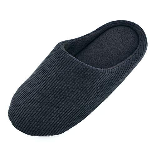 Knixmax Zapatillas de Estar por Casa para Hombre Mujer, Zapatos Memory Algodón Pantuflas, Zapatillas Cómodas Suave CáLido y Antideslizante Zapatillas para Interior, Hotel, Hogar, Negro EU 38-39