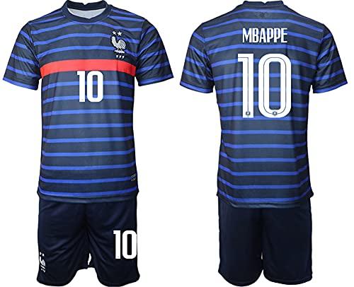 QZROOM Maillot Enfant Adulte équipe de France de Football 2021 (Bleu, 22)